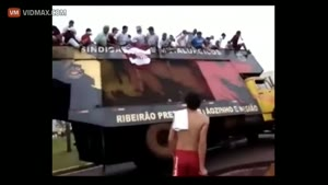 Overloaded Bus Tips over