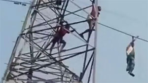 Man Jumps From Power lines