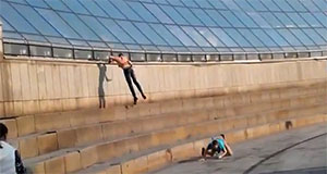 Drunk Idiots Dared to Slide Down Building