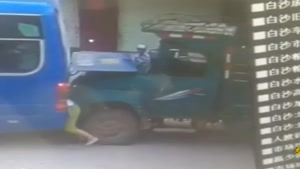 Man Crushed Between Bus And Truck